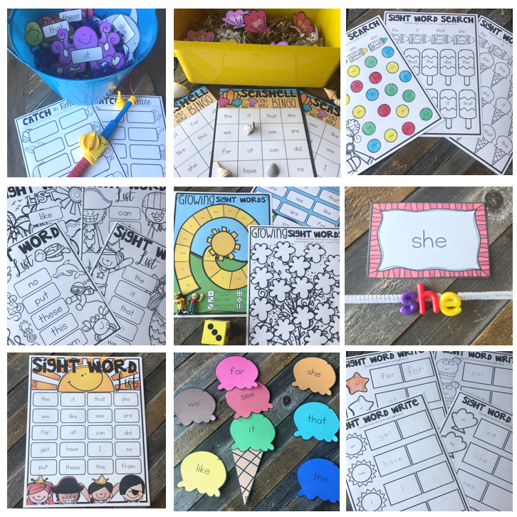 Summer Sight Word Games, Centers and Activities {EDITABLE}