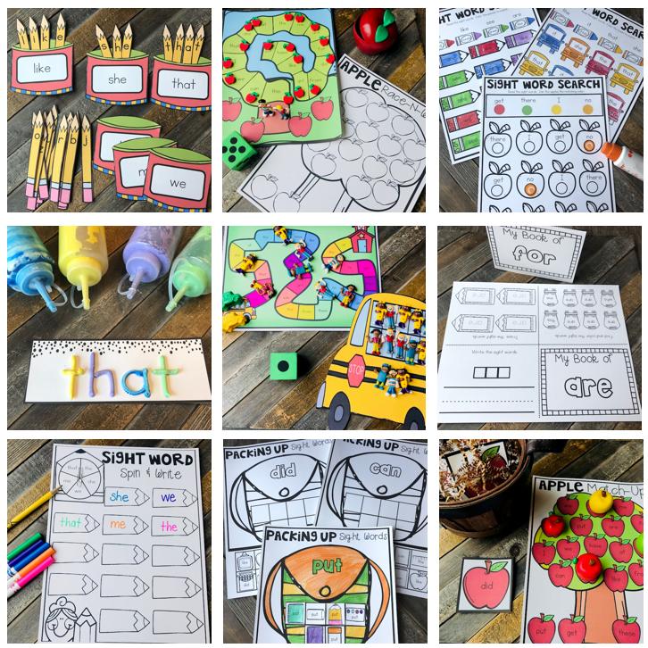 20 EDITABLE Kindergarten Sight Word Activities Perfect for Back to School