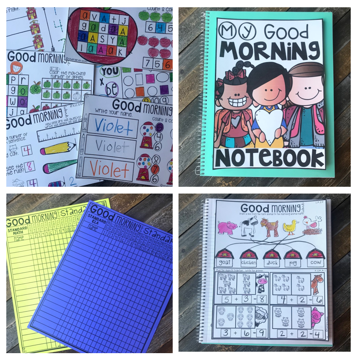 Morning Work Collective Notebook for the Year {Kindergarten}
