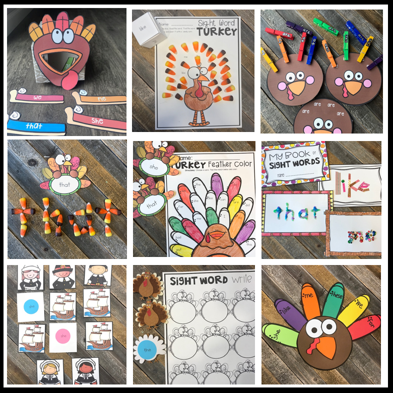 20 EDITABLE Sight Word Activities November Turkey and Thanksgiving