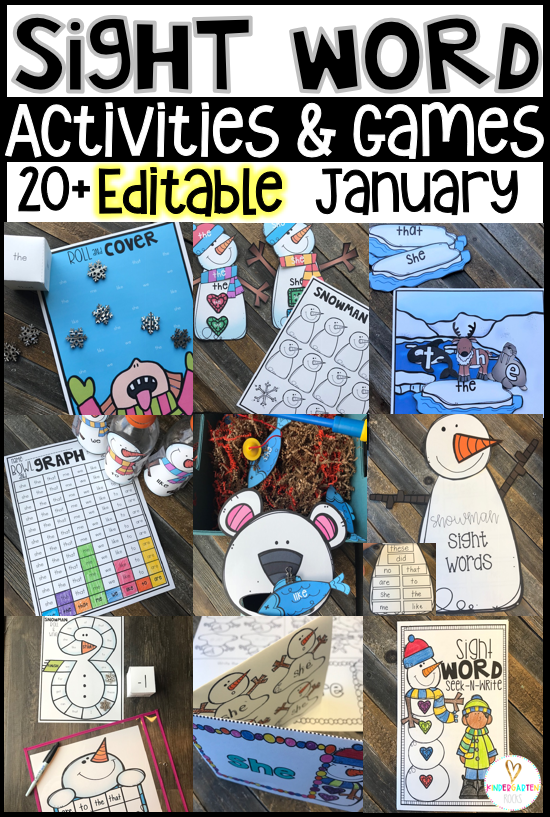Editable Sight Word Activities and Games for the Winter