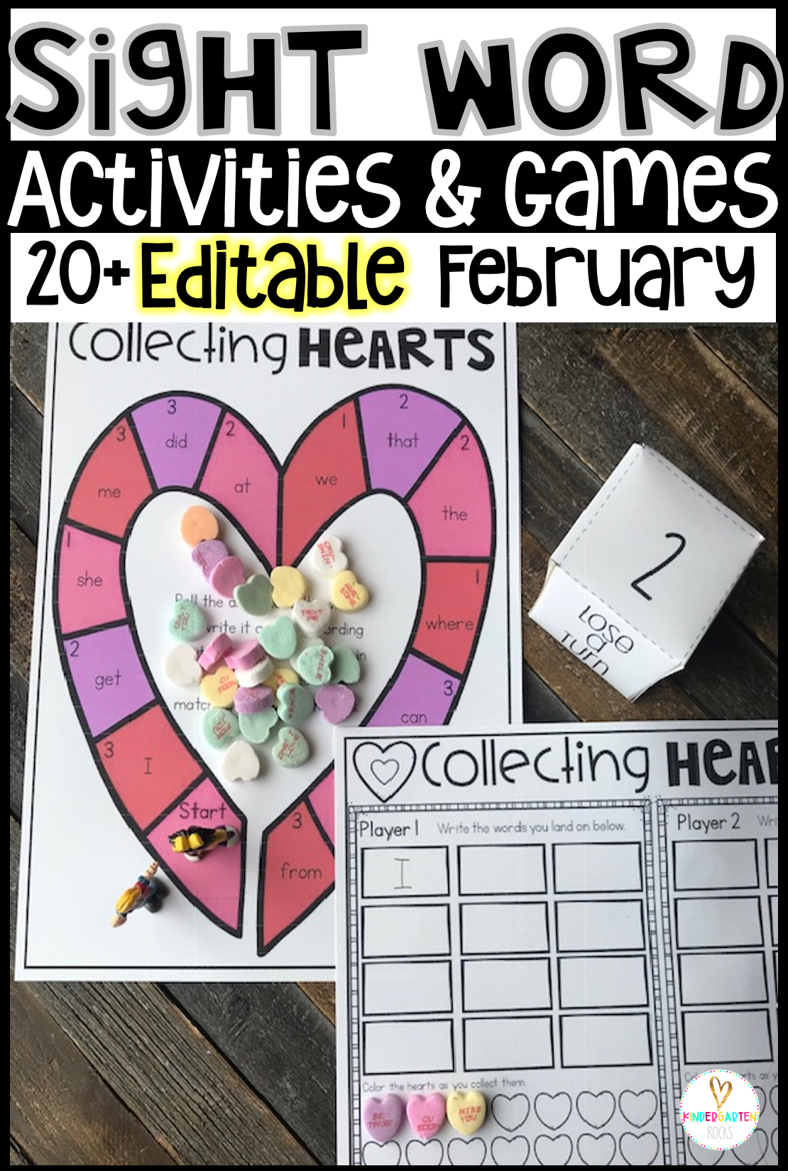 Are you looking for Valentine's Day sight word games and activities that you can change to meet the needs of your kindergarten or first grade students? Then, you will love Editable Sight Word Activities, Printables and Games for February. Type in 20 sight words on one list and they will spread throughout all of the activities.