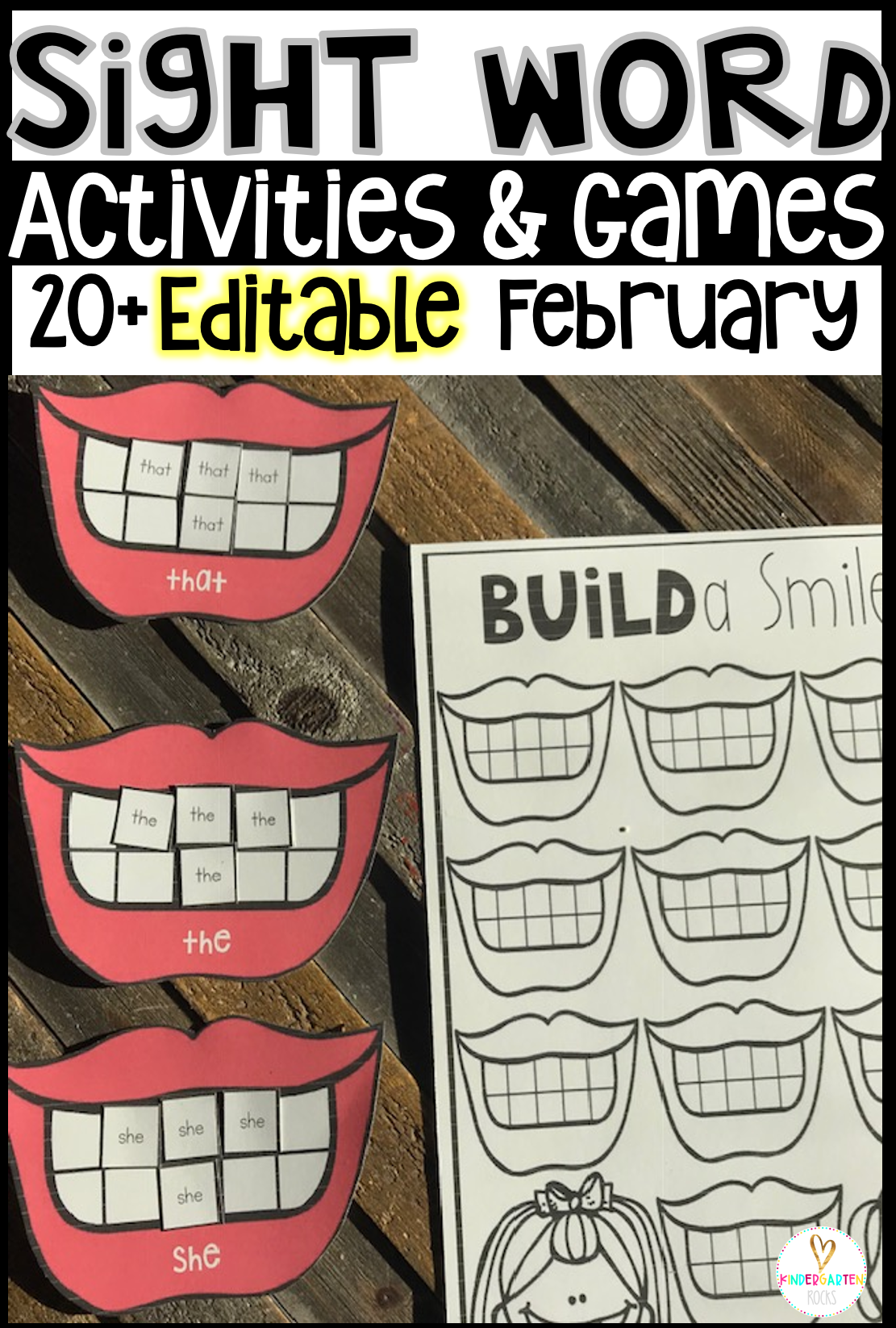 Are you looking for Valentine's Day, Groundhog and Dental themed editable sight word activities that you can change to meet the needs of your kindergarten or first grade students? Then, you will love Editable Sight Words Printables, Activities and Games for February.