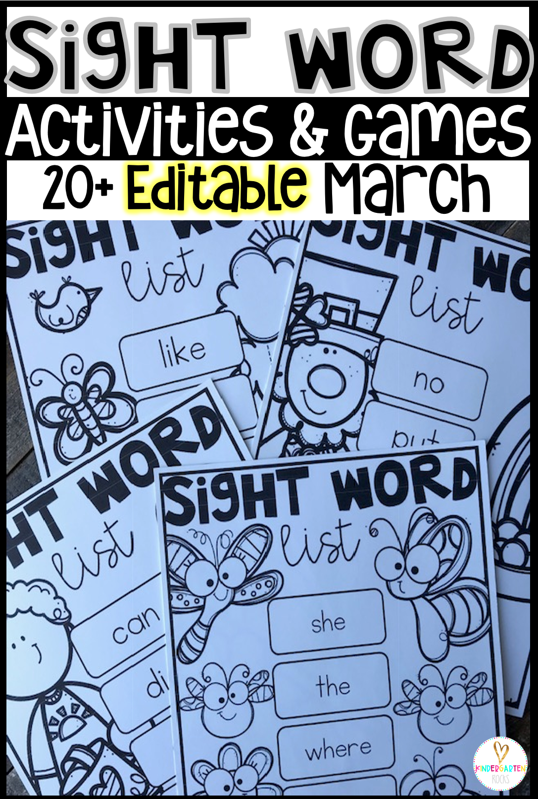 Are you looking for spring themed sight word activities that you can change to meet the needs of your kindergarten and/or first grade children?   Then, you will love Editable Sight Words Printables, Activities and Games for March.
