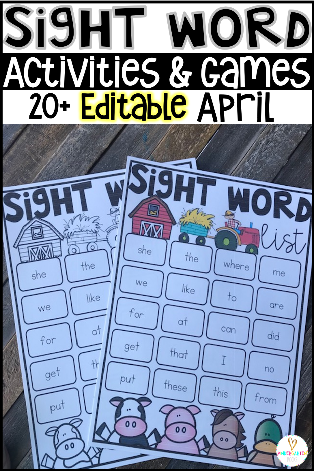 Are you looking for spring sight word activities that you can change to meet the needs of your kindergarten and/or first grade children? Then, you will love Editable Sight Words Printables, Activities and Games for spring and the month of April.