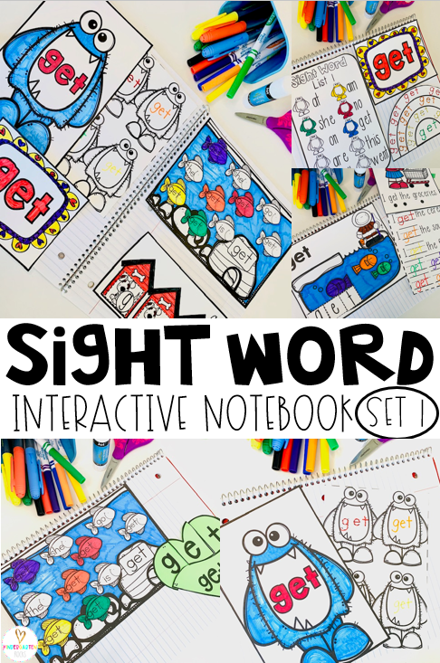 Sight word notebooks are the best! Not only do kids work on good old fashioned fine motor skills, they practice 10 words in each set using a variety of techniques. This will definitely keep them engaged and practicing sight words! #sightwordactivities #interactivenotebooks