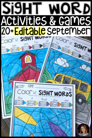 Are you looking for Back to School themed sight word activities that you can change to meet the needs of your kindergarten and/or first grade children? Then, you will love Editable Sight Words Printables, Activities and Games for September. Type in 20 sight words on one list and they will spread throughout all of the activities.