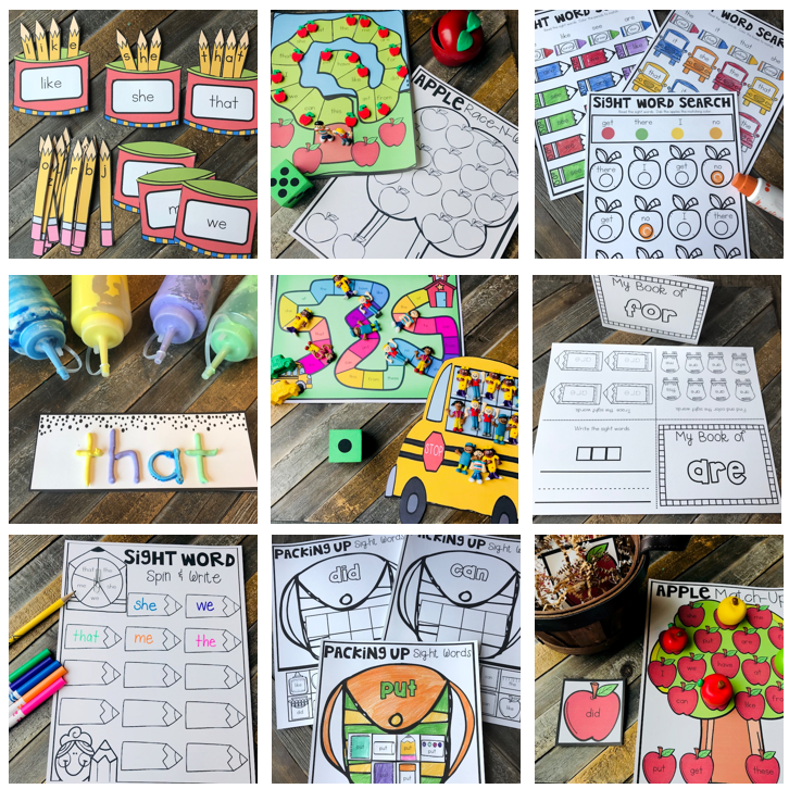 20 EDITABLE Kindergarten Sight Word Activities Perfect for Back to School