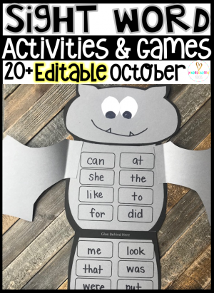 Editable Kindergarten Sight Words Activities are a game change for your fall centers. This hands on sight word unit is full of editable and easy to modify centers and activities. These sight word activities are theme based and can easily be implemented into any reading program.