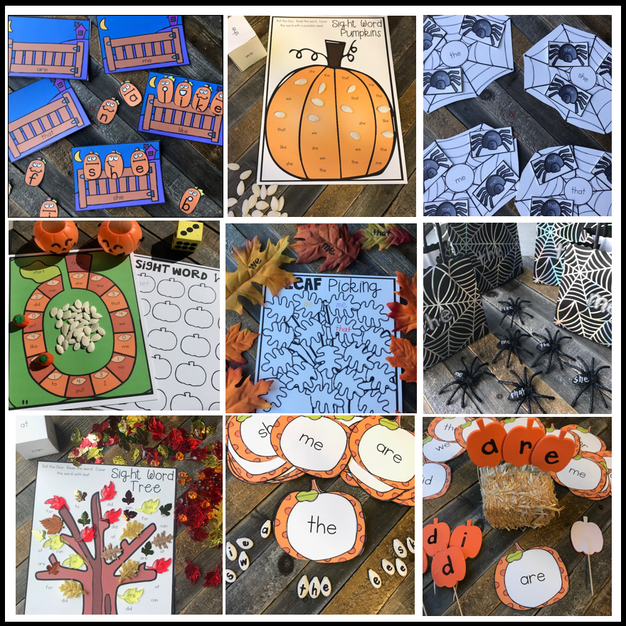 20 EDITABLE Kindergarten Sight Word Activities for October Fall, Pumpkins and Leaves