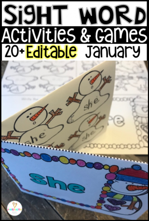 Are you looking for winter, polar animals and snowman themed editable sight word activities that you can change to meet the needs of your kindergarten or first grade students? Then, you will love Editable Sight Words Printables, Activities and Games for January. Type in 20 sight words on one list and they will spread throughout all of the activities.