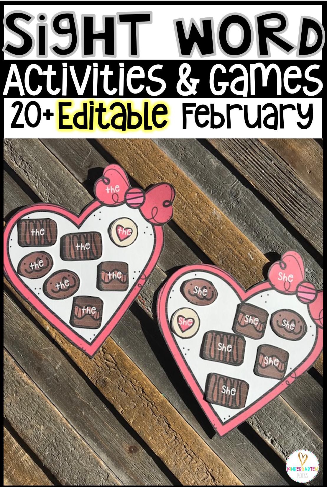 Valentine's Day sight word games