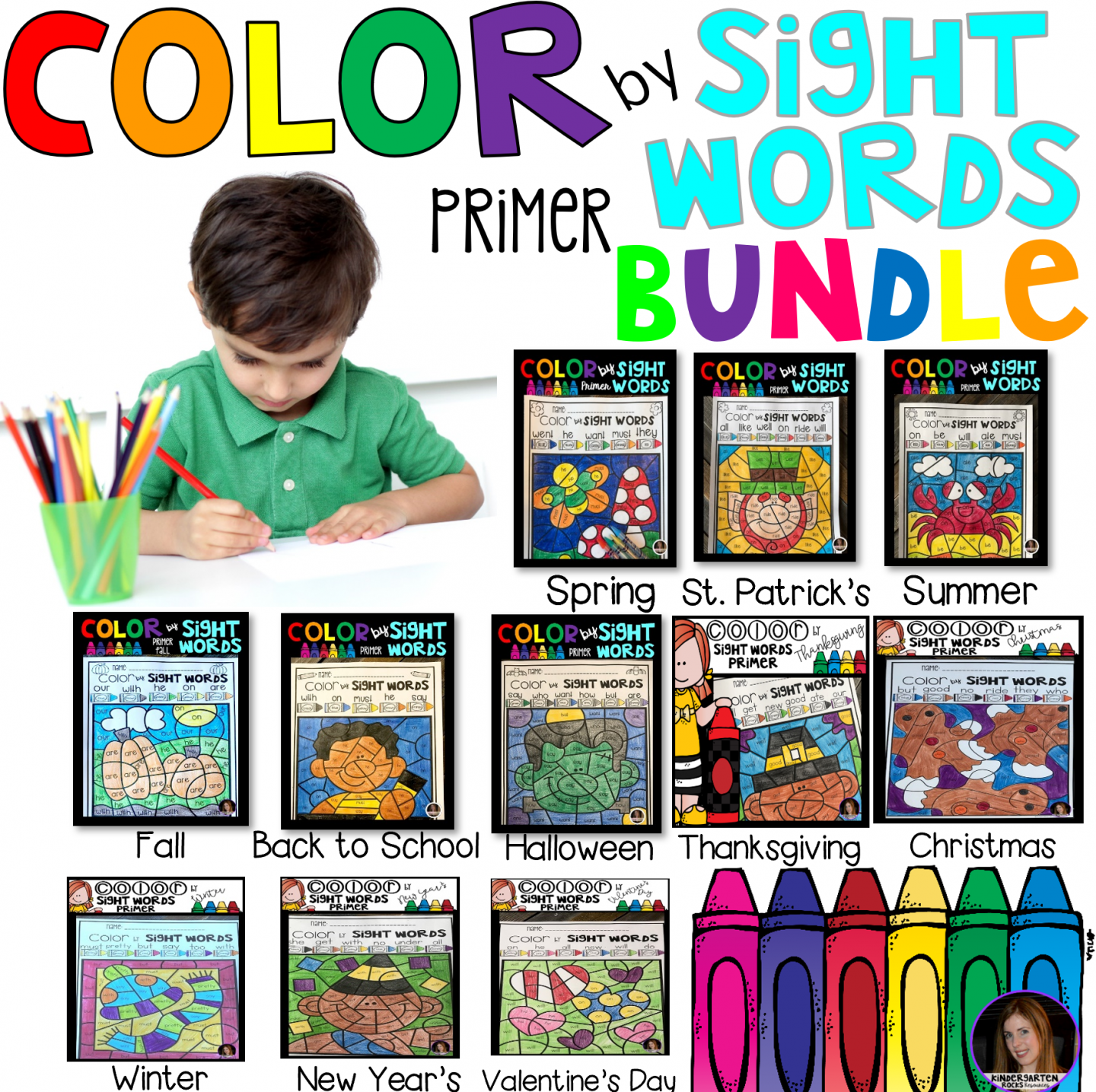 Color by Spring Sight Word Bundle