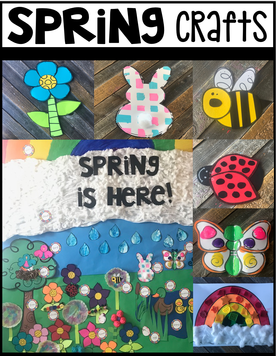 Are you looking for a fun age appropriate crafts for kids?  Then you will love Spring Crafts for Preschool.  This unit is perfect for your spring unit at any time throughout the year.  Increase student vocabulary and readiness skills with hands on crafts.