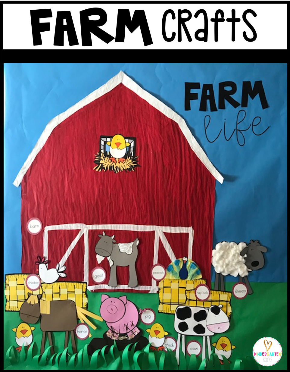 Are you looking for a fun age appropriate crafts for kids?  Then you will love Farm Crafts.  This unit is perfect for your farm tale unit at any time throughout the year.  Increase student vocabulary and readiness skills with hands on crafts.