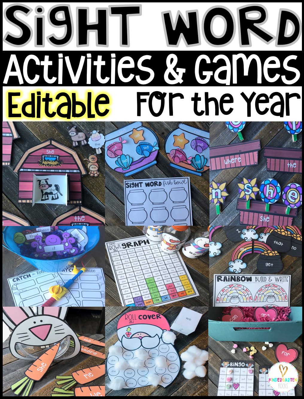 Are you looking for editable sight word games to fill your literacy centers for the year? Then, you will love our Editable Sight Word Games Bundle. It contains 10 units worth of hands on editable sight words games, printables and activities that fit in with themes throughout the year.#sightwords #kindergarten #printables #backtoschool #activities #handsonlearning