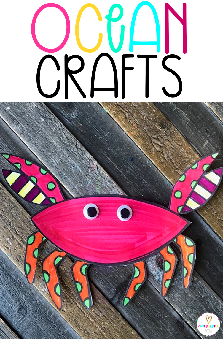 Are you looking for a fun age appropriate crafts for kids? Then you will love Ocean Crafts for Preschool. This unit is perfect for your Ocean unit at any time throughout the year. Increase student vocabulary and readiness skills with hands on crafts. #crafts #forkids #oceancrafts #preschool #handsonactivities