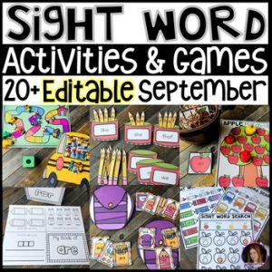 September themed sight word activities