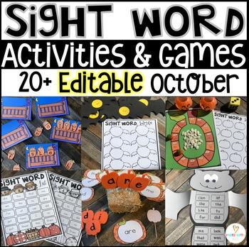 pumpkin and fall themed sight word activities
