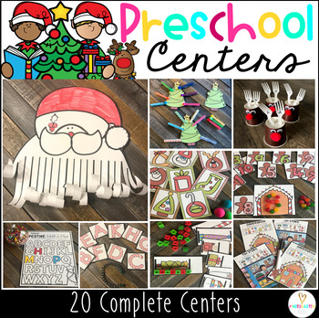 Christmas December Math and Literacy Centers