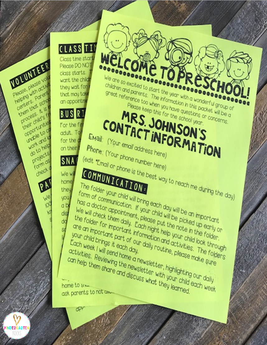 Back to School Forms Editable for Preschool and Kindergarten will help you look and feel organized for parent orientation and the first week of school. #Backtoschool #editableforms