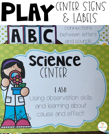 Play Centers Labels are a way to share with anyone that enters your classroom what the children are learning in each play area. Miniature signs are perfect for making a play rotation board to help children grow in all areas especially in the area of social skills.