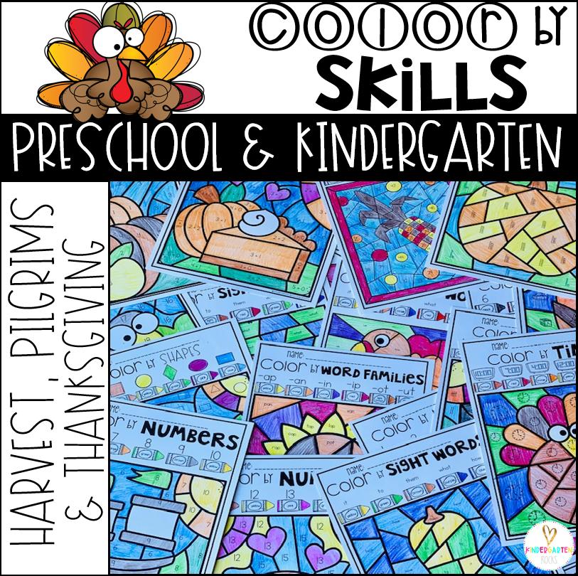 Thanksgiving Activities Color by Skills for Kindergarten and Preschool