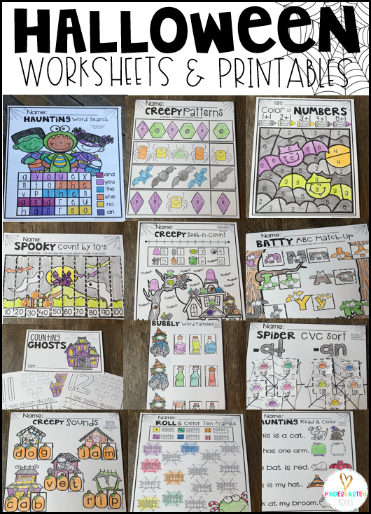 Halloween Activities Math and Literacy Worksheets for Kindergarten is a no prep packet packed full of worksheets and printables to help reinforce and build literacy and math skills in a fun, engaging way. This unit is perfect for the fall months of kindergarten.