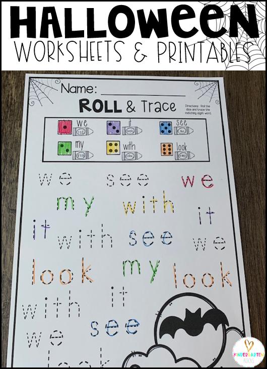 Halloween Activities for Kindergarten Rolls & Trace