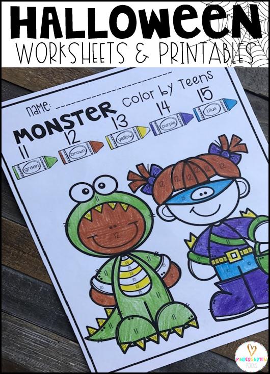 Halloween Activities for Kindergarten Color by Teens