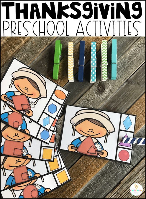 Build fine motor skills, as well as shape identification with this cute pilgrim shape matching activity.