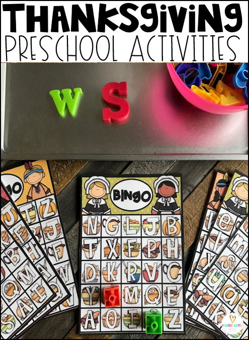 Letter identification and matching will be fun with this cute thanksgiving themed BINGO activity.
