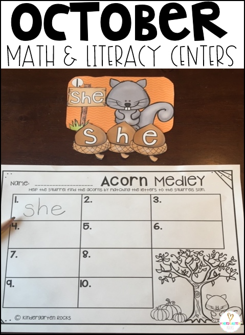 Fall Math and Literacy Centers for October is packed full of fun hands on centers that will keep children busy all fall long.