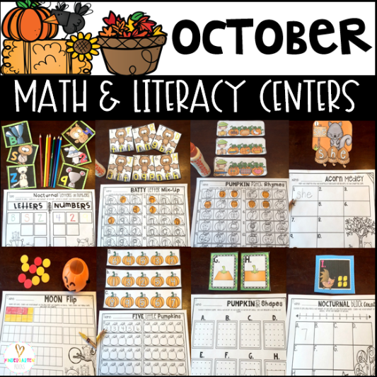 Fall Math and Literacy Centers for October