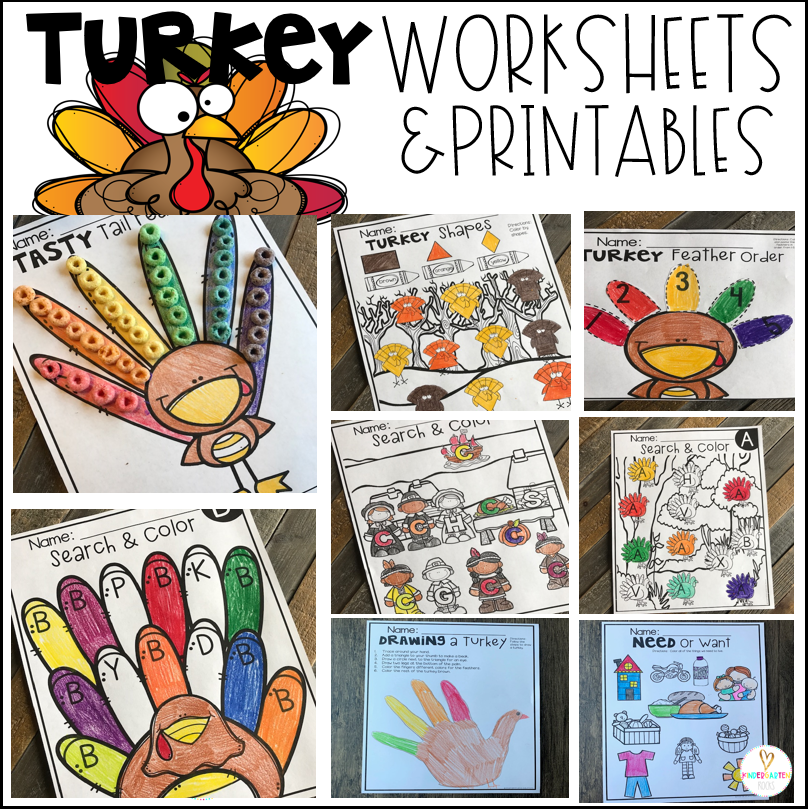 Thanksgiving Worksheets for Preschool (Turkey, Harvest, Pilgrim Themed)