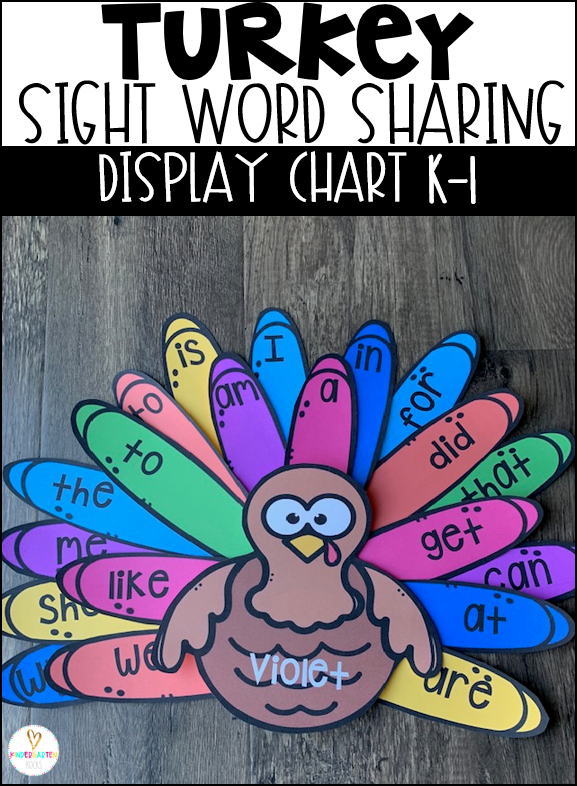 Are you looking for a fun sight word activity and a way to display sight word learning to motivate students? Then, Turkey Sight Word Sharing Display Charts are perfect for you.