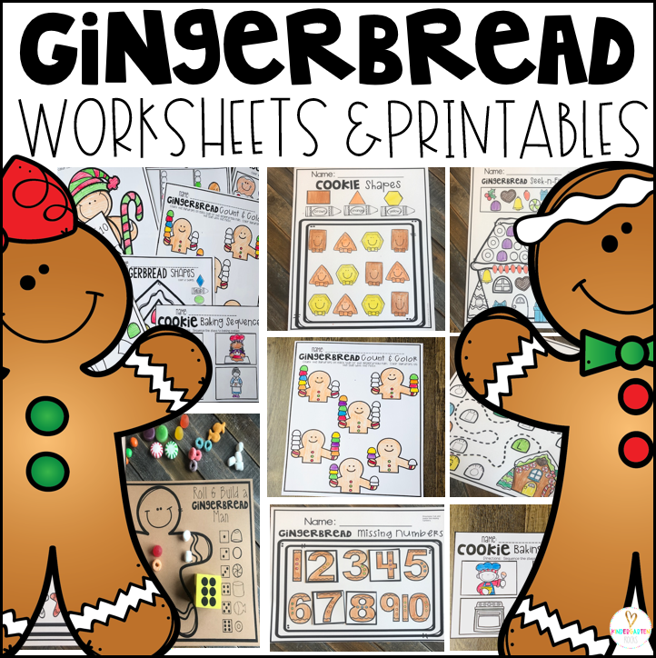 Gingerbread Math and Literacy Worksheets for Preschool
