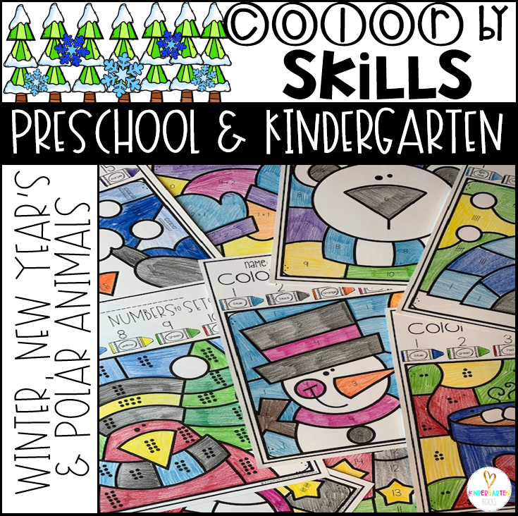 Winter Activities Color by Skills for Preschool and Kindergarten EDITABLE