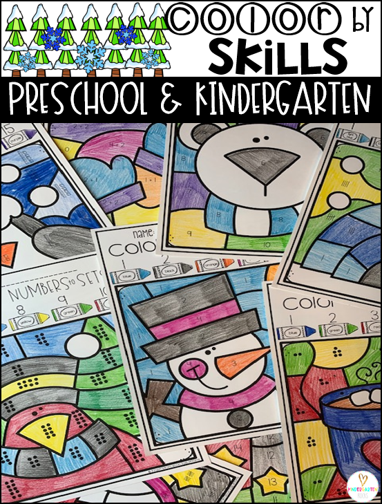 Are you looking for fun winter activities that focus on a variety of skills?  Then, you will Love January Color by Skills Printables for preschool and kindergarten.