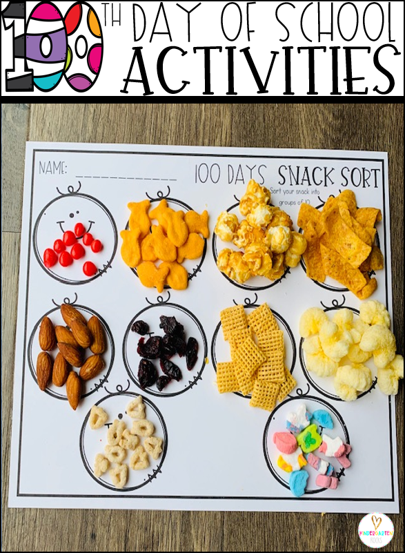 100th Day of School Snacks Sort