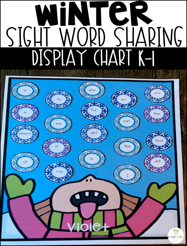 Are you looking for a fun winter sight word activities and a way to display sight word learning to motivate students? Then, Winter Sight Word Sharing Display Charts are perfect for you. #winter #sightwordactivities