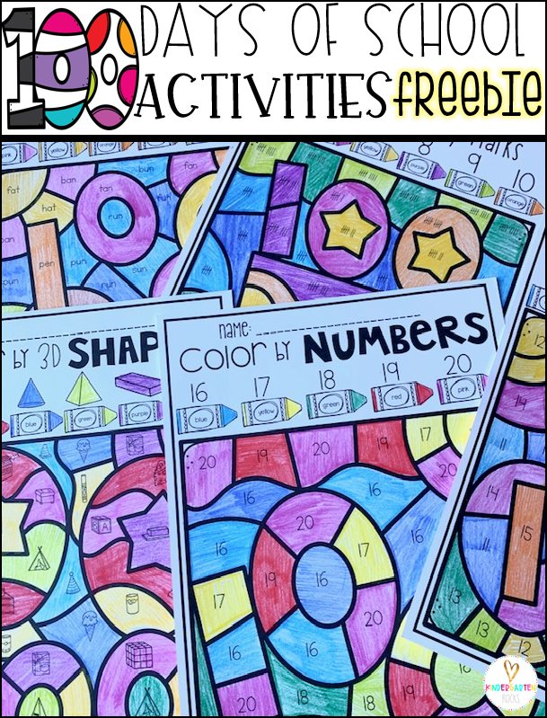 100th Day of School Freebies Numbers
