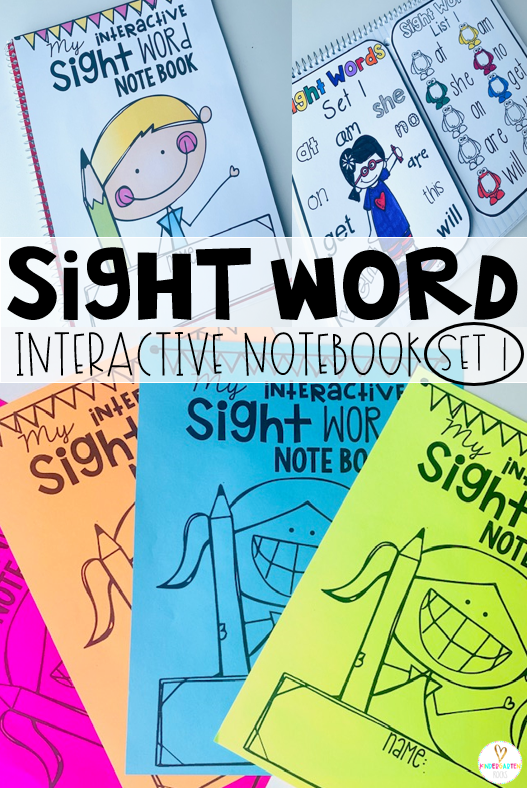 Are you looking for fun sight word activities? Then you will love our sight word notebooks! Each set includes a colorful, fun cover (colored or black and white) and several pages to separate each unit.  The boys and girls can track their progress with cute color as they learn pages. #sightwordactivities #kindergarten