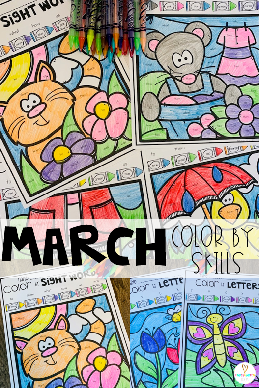 St Patrick's Day and Spring Activities Color by Skills are a fun and engaging way to practice a variety of skills in your literacy and math centers. There are 6 editable pages in this product, 2 ABC and 4 sight word pages. #spring #kindergarten