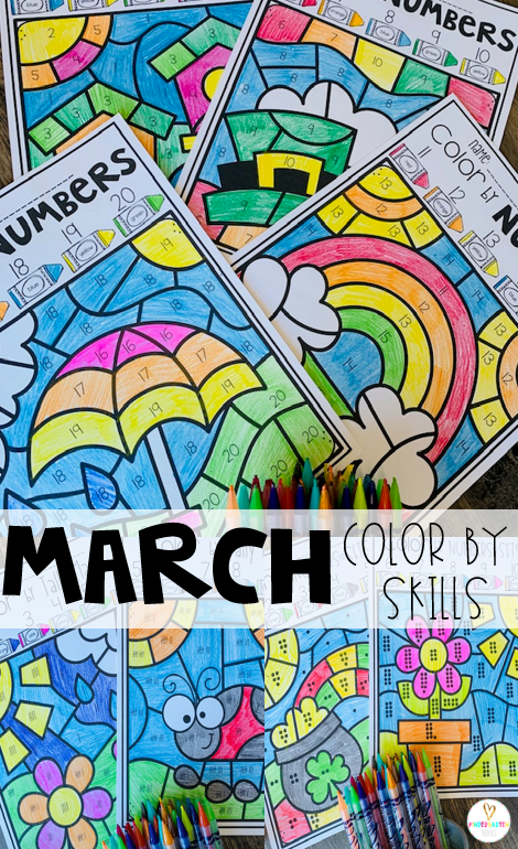 St. Patrick's Day Activities Color by Skills
