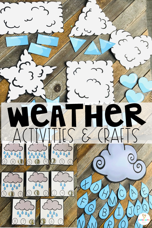 Are you looking for fun centers and weather activities for kids that you can use in your preschool classroom? Then, you will love Weather Themed Unit for Preschool. The boys and girls will match shapes, work on one to one correspondence and letter identification. #weather #preschool