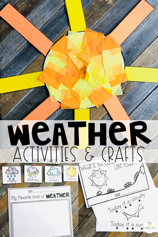 Are you looking for fun centers and weather activities for kids that you can use in your preschool classroom? Then, you will love Weather Themed Unit for Preschool. The boys and girls will love the crafts, open-ended drawing and simple readers. #weather #preschool