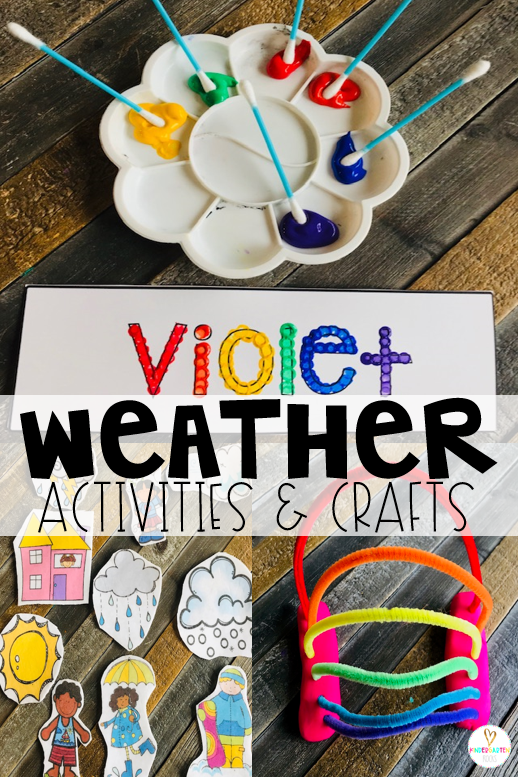 Are you looking for fun centers and weather activities for kids that you can use in your preschool classroom? Then, you will love Weather Themed Unit for Preschool. The boys and girls will work on the letters in their name and fine motor skills to build a rainbow. #weather #preschool
