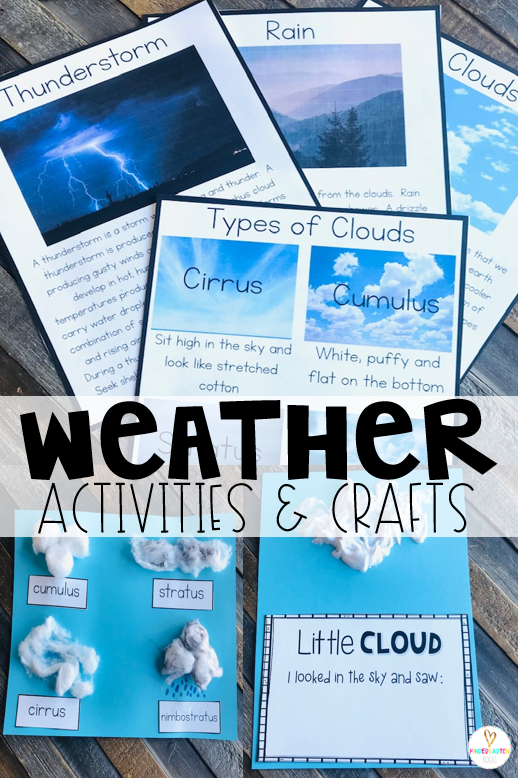 Are you looking for fun centers and weather activities for kids that you can use in your preschool classroom? Then, you will love Weather Themed Unit for Preschool. The boys and girls will learn about different kinds of weather and spend a day learning about types of clouds. #weather #preschool