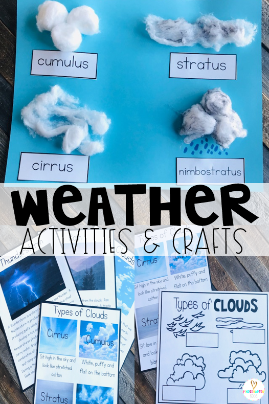 Are you looking for weather activities for kids?  A unit with weather crafts and ideas? Our Weather Activities for Kindergarten unit is just what you need! Cloud activities include several non-fiction passages about clouds in general and types of clouds.